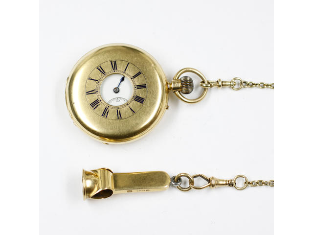 An 18ct gold half Hunter cased pocket watch, the white enamel dial and seconds subsidiary engraved inscription 'Presented to the Honble F A C Thelhusser 8th June 1889 from the Household and Estate Servants', keyless three quarter plate movement signed 'Bennett Cheapside', numbered 50942, hallmarked London 1888, on an oval link chain with two swivels marked 18 and an 18ct gold and a steel cigar cutter.