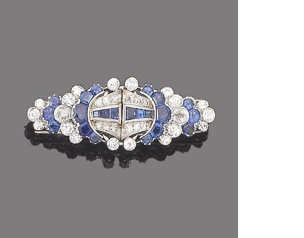 An art deco sapphire and diamond double-clip brooch,