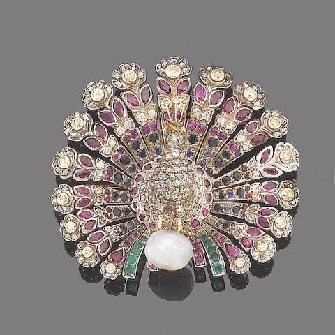 A multi gem-set peacock brooch