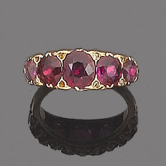 A late 19th century ruby five-stone ring