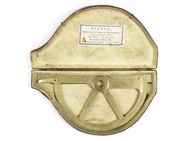 A Jean-Francois Richer brass protractor in case,  French, circa 1800,