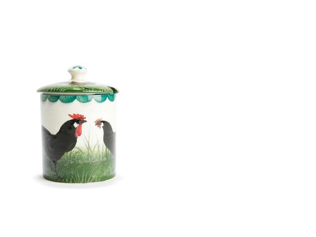 'Black Cockerals' A Wemyss preserve pot and cover,