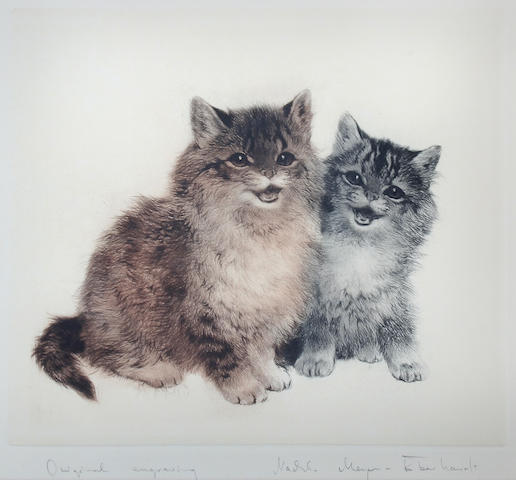 Kurt Meyer-Eberhardt (German, 1895-1977) Two seated kittens,