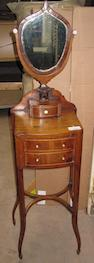 A George III mahogany shaving mirror and stand,