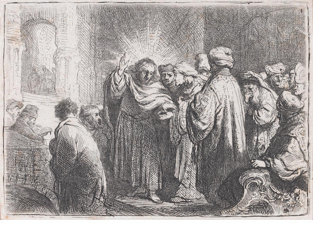 Rembrandt Harmensz van Rijn (Dutch, 1606-1669) The Tribute Money Etching, c.1635, second and final state, with the small parallel lines above Christ's head and above the turban of the man on the right, on laid with narrow margins, 73 x 103mm (2 4/5 x 4in)(PL)