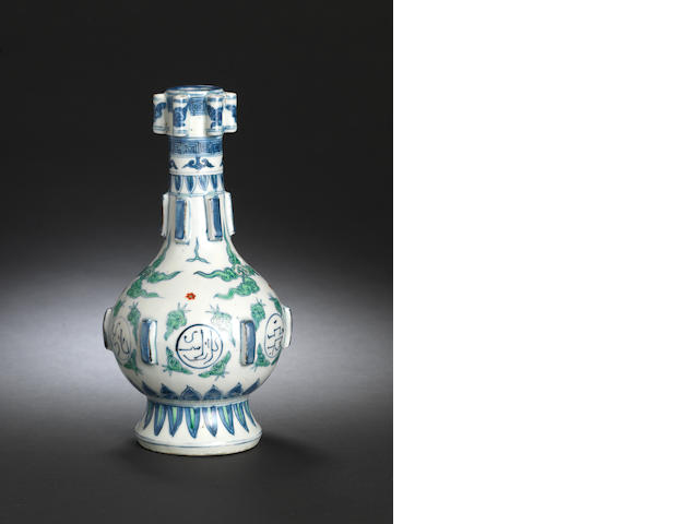 A very rare blue and white and enamelled Persian-inscribed vase 16th century