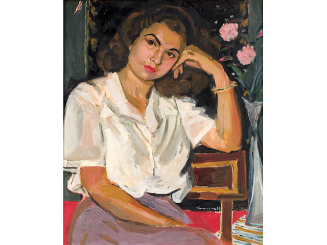 Yiannis Tsarouchis (Greek, 1910-1989) Portrait of Miss N.A. with two roses 61 x 55.5 cm.