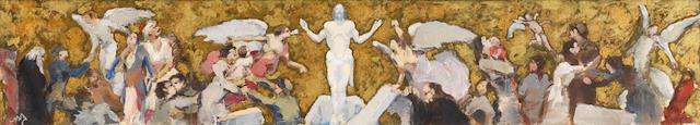 Nikolaos Lytras (Greek, 1883-1927) Resurrection 11.5 x 63.5 cm.