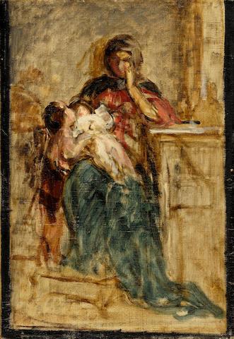 Nicholaos Gysis (Greek, 1842-1901) Mother and child 31.5 x 21.5 cm.