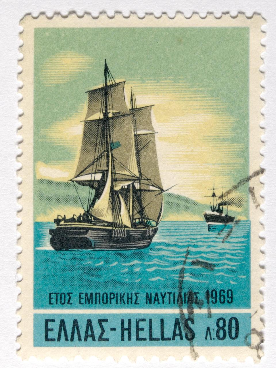 Ioannis Poulakas (Greek, 1864-1942) Sailing ship and steamer 85 x 121 cm.