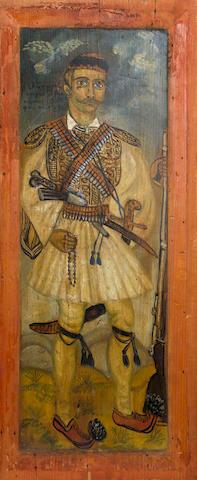 Theofilos Hadjimichail  (Greek, 1867-1934) The General Athanasios Proufas in 1896 69.5 x 30 cm.
