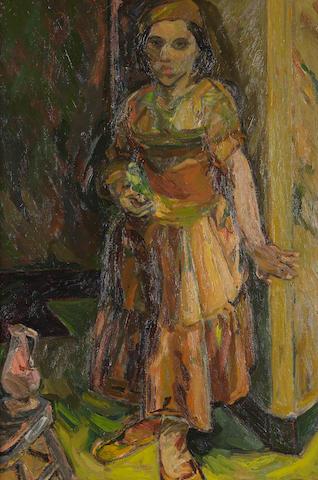 Sir Robin Philipson, RA PRSA FRSA RSW RGI DLitt LLD (British, 1916-1992) 'Girl with Budgerigar'