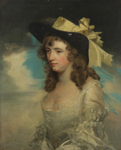 Circle of John Hoppner (London 1758-1810) Half length portrait of Mrs Crowe in a black bonnet