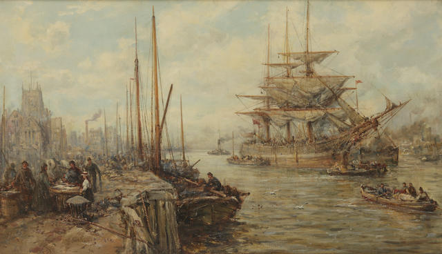 Circle of Samuel Bough, RSA (British, 1822-1878) A busy river scene