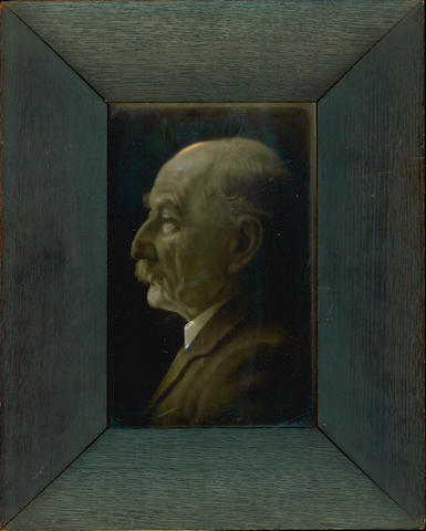HARDY (THOMAS) CARTLIDGE (GEORGE) Photographic profile portrait of Thomas Hardy on a glazed tile