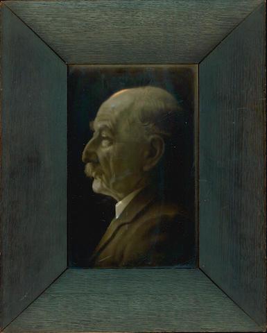HARDY (THOMAS) CARTLIDGE (GEORGE) Photographic profile portrait of Thomas Hardy on a glazed tile
