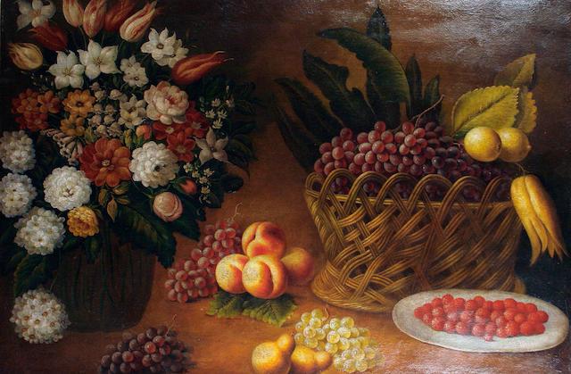 Spanish School, 20th Century Still life of flowers and fruit