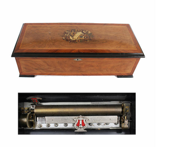 A late 19th century rosewood and kingwood veenered musical box by Palliard circa 1895