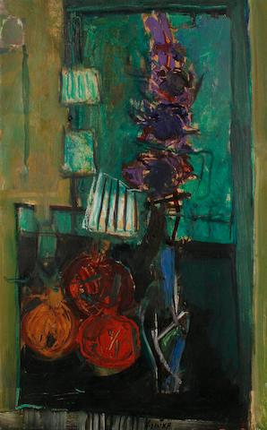 Zvi Mairovich (Israeli, 1911-1973) Still life with flowers and pomegranates