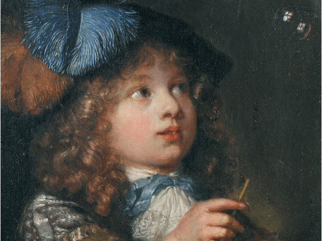 Caspar Netsher, Boy making a soap bubble, oil on copper