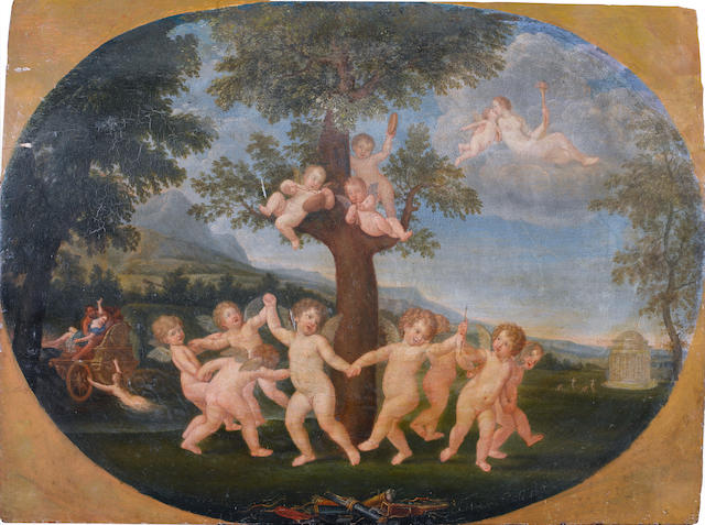 After Francesco Albani, 19th Century Putti dancing before a tree, unframed