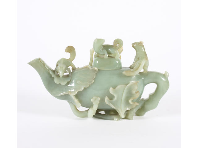 A jade teapot and cover 19th Century.