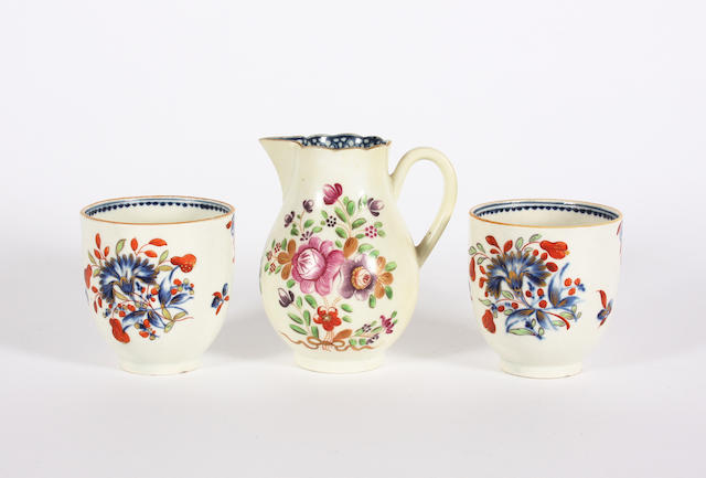 A pair of Worcester coffee cups and a sparrow beak jug Circa 1770-80.
