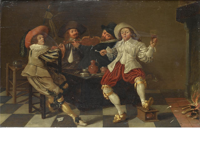 Circle of Pieter Jacobsz. Codde (Amsterdam 1599-1678) Merry company making music in an interior