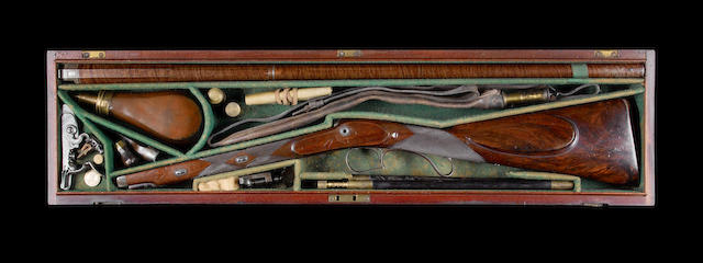 A Cased 15-Bore Flintlock Sporting Gun