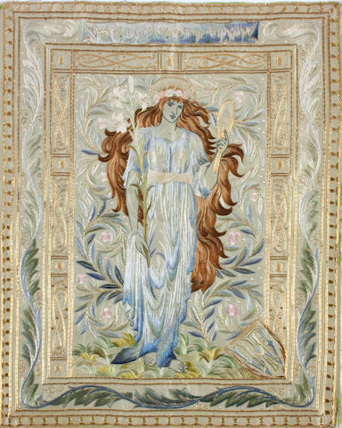 A fine Pre-Raphaelite needlework book cover from 'The Book of Beauty', circa 1896