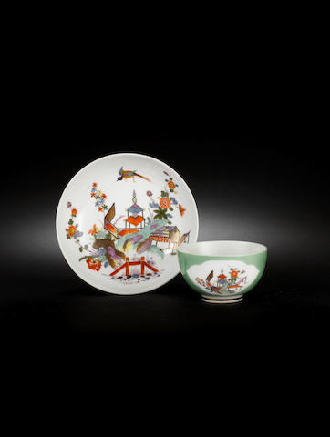 A rare Meissen green-ground teabowl and saucer circa 1730-35