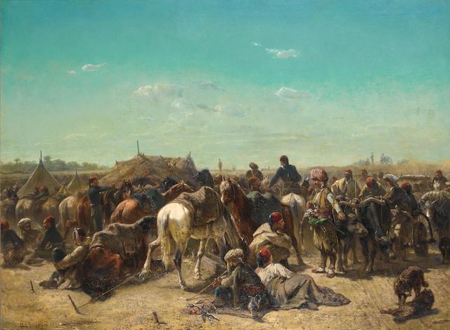 Adolf Schreyer (German, 1828-1899) An Ottoman encampment