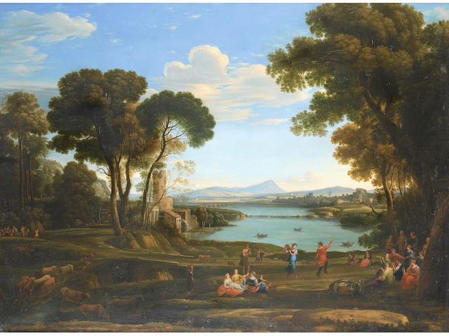 After Claude Gellée, called Claude Lorrain, 19th Century An Italianate landscape with the Marriage of Isaac and Rebecca; 74.2 x 99.5cm (29 3/16 x 39 3/16in) and 73.5 x 99cm (28 15/16 x 39in). (2)