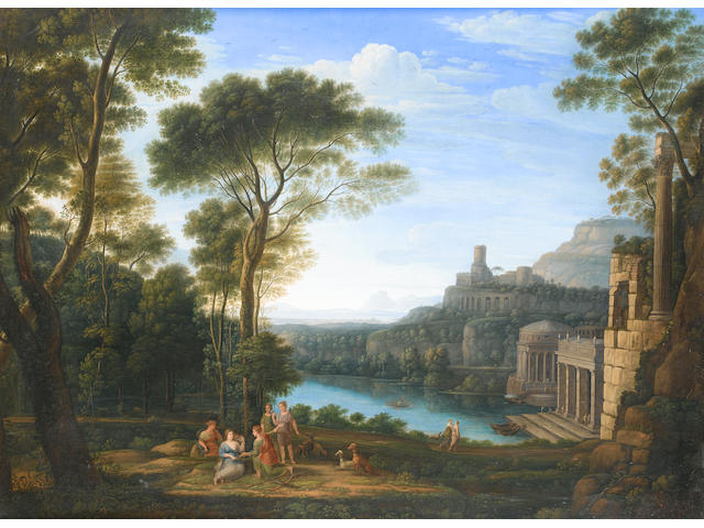 After Claude Gellée, called Claude Lorrain Elegant figures dancing and making music in a classical river landscape;  74.2 x 99.5cm (29 3/16 x 39 3/16in) and 73.5 x 99cm (28 15/16 x 39in). (2)