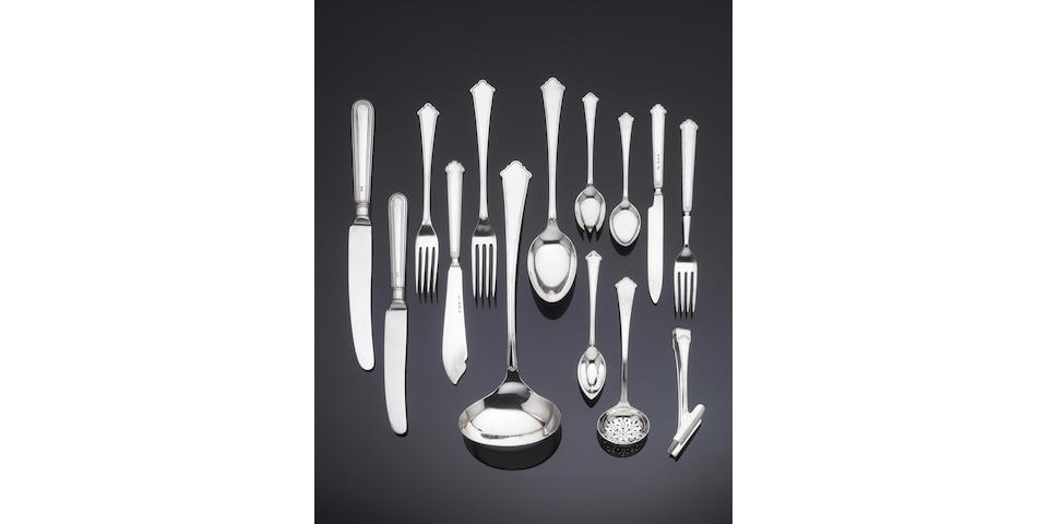 A silver Chippendale pattern table service of flatware, by Elkington & Co, predominantly Birmingham 1927 - 34 and Sheffield 1962 - 1970,
