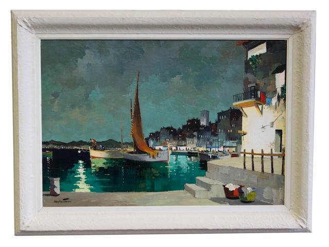 D'Oyly John (British, 1906-1993) Night Fishermen at St. Tropez, South of France