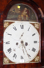 A George III oak and mahogany crossbanded longcase clock,with painted arched dial and eight day striking movement, 207cm high.