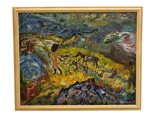 Thomas Mukarobgwa (Zimbabwean, 1924-1999) Ploughing scene