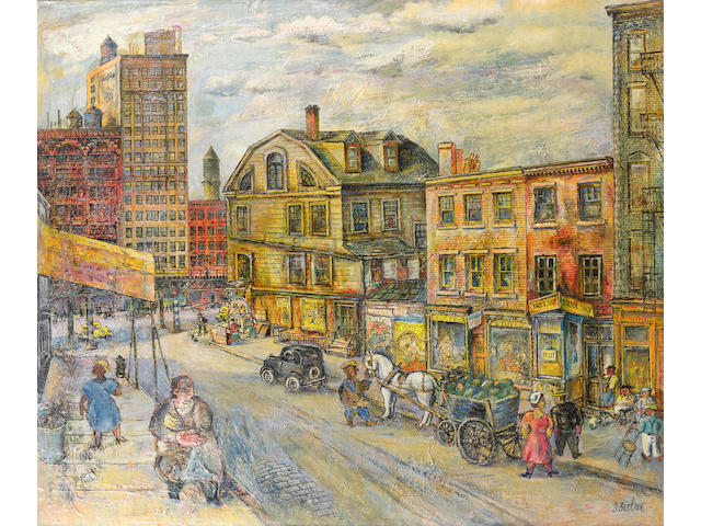David Burliuk (Russian/American, 1882-1967) The corner of 4th and the Bowery, 1934