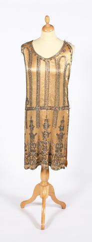 A 1920s heavily beaded evening dress