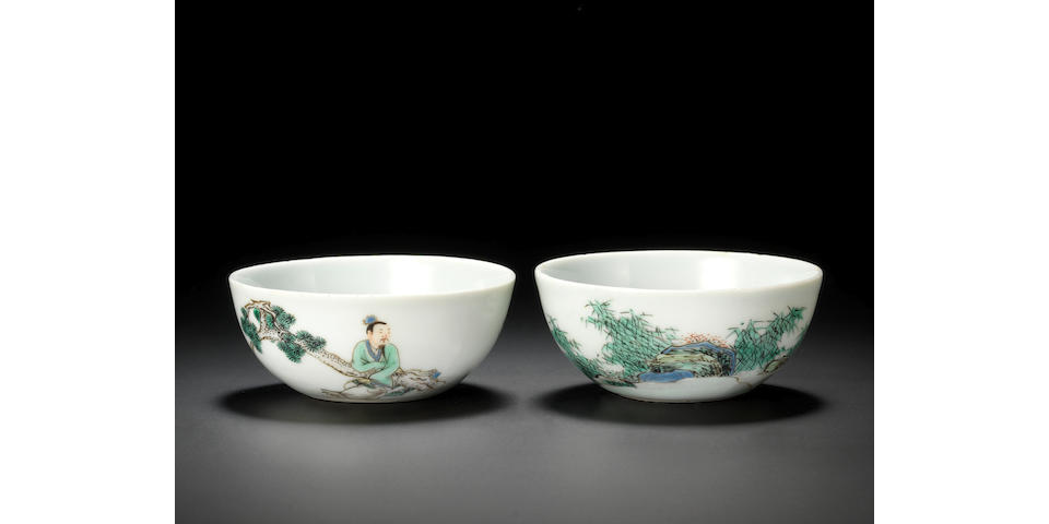 Two rare enamelled 'scholar' cups Yongzheng six-character marks and of the period