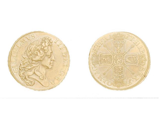William III, 1694-1702, Five Guineas, 1701, second laureate draped bust right ('fine work'),