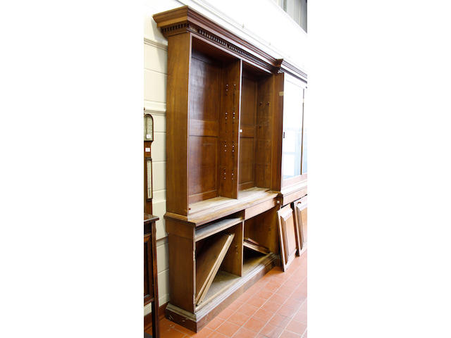 A late Victorian oak breakfront library bookcase,