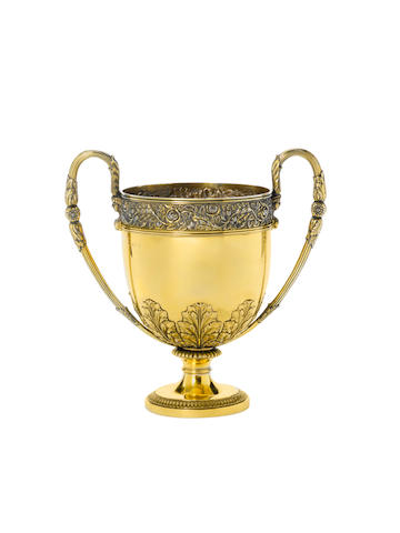 """A George III silver-gilt two-handled cup, maker's mark """"W.E?"""", London 1816,"""
