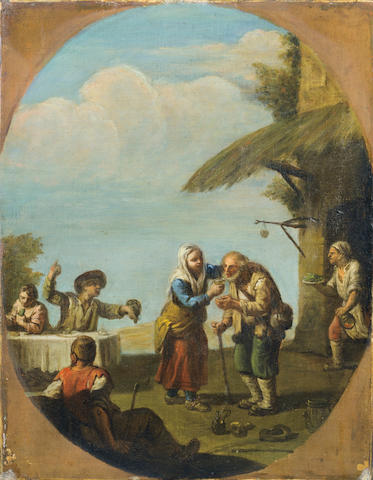 Circle of Paolo Monaldi (Rome 1725-1780) Figures dancing and merrymaking; and Figures  (2)