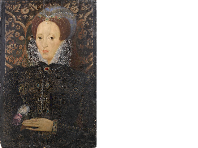 English School, mid C16th, Portrait of a lady thought to be Queen Elizabeth 1 holding a pink and a white rose, in a later tabernacle frame