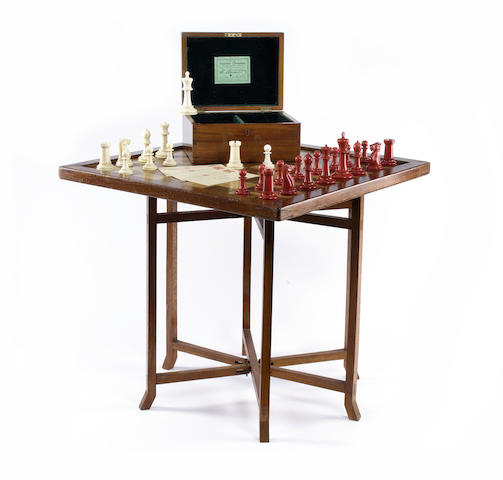 "A Staunton ""Club Size"" ivory chess set, Jaques, London,"