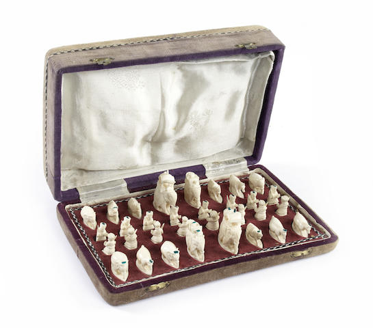 "An Indian ivory ""elephant"" figural chess set, Rajhasthan, circa 1910,"