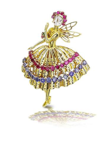 "A diamond, ruby, sapphire and emerald ""dancer"" brooch,  by Van Cleef & Arpels,"