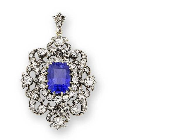 A late 19th century sapphire and diamond pendant/brooch,